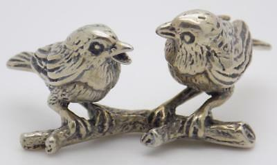 Vintage Solid Silver Italian Made 60s Birds on a Branch Figurine, Stamped