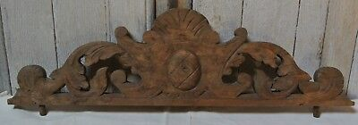 Vintage Antique Hand Carved Wood Finial Pediment French Wardrobe Cabinet