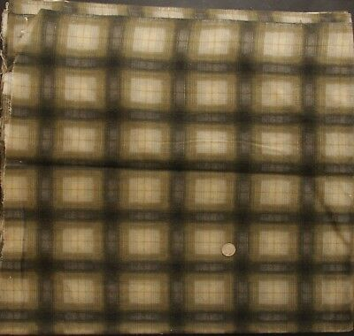 "2 YDS Fabric Flannel Vtg 50s 60s Shadow Plaid Cotton Green Cream Black 36"" Wide"