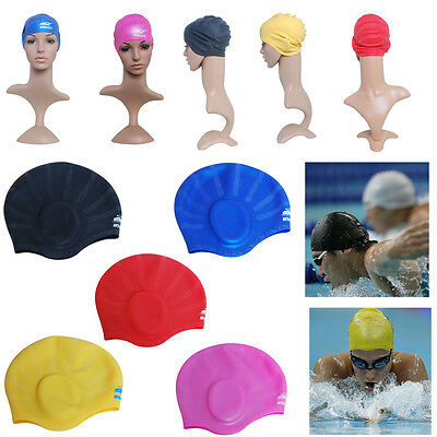 Swimming Cap Swim Hat Silicone Adult Pool Kids Fabric Waterproof Unisex Shower