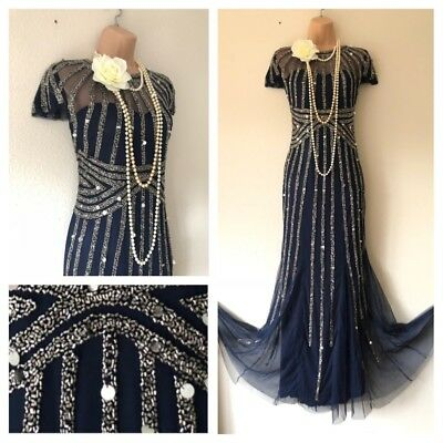 NWT Frock & Frill Sequin Embellished Gatsby 20's Evening Beaded Flapper Dress 10