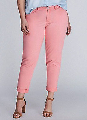 cb98c6805da8c Lane Bryant Womens The Boyfriend Chino Pants Light Pink Coral Plus Size 26
