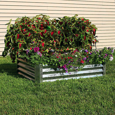 Sunnydaze Galvanized Steel Raised Garden Bed - 48-Inch Rectangle - 12-Inch Deep
