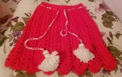 RARE VINTAGE Girls Red White Crochet Knit Doll PomPom Ties