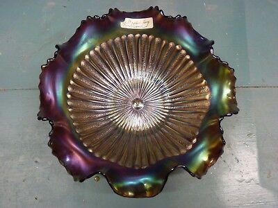 Northwood Signed Amethyst Carnival Glass Stippled Ray Pattern Ruffled Bowl