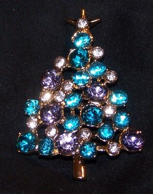 Rhinestone Christmas Tree Pin Brooch-Blue Clear Light Purple-New-Signed LC