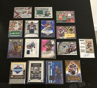 Lot of 16 Auto/Game Used/Patch Football Cards w/ Peyton Manning, Lynch, Holt+