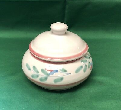 Vintage Caleca Pink Garland Sugar Bowl W/ Lid Made In Italy EUC!