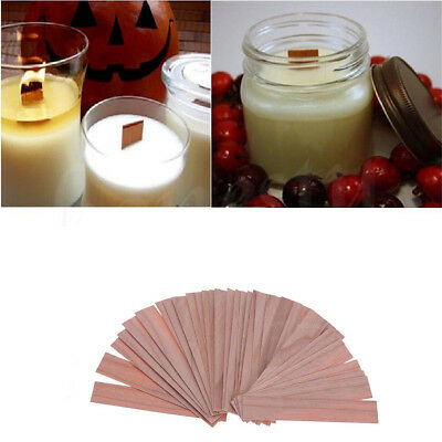 50pcs DIY Wooden Wick Candle Core Perfect Sustainers In Soy Paraffin Making