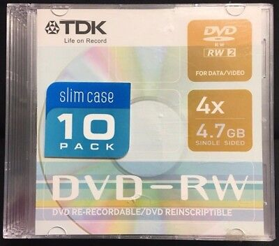 TDK DVD-RW Re-Recordable Slim Case 10 Pack 4x 4.7 GB Single Sided Data/Video NEW