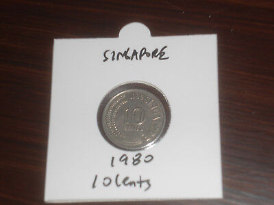 1980 Singapore 10 Cent coin Singaporean ten cents