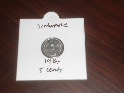1984 Singapore 5 Cent coin Singaporean five cents