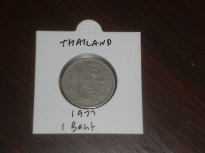 1977 Thailand 1 Baht coin Thai one bahts