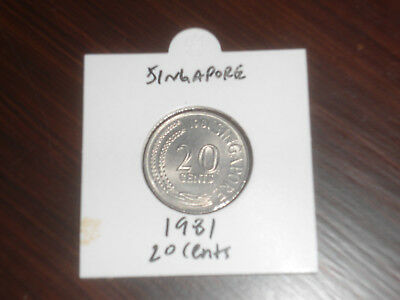 1981 Singapore 20 Cent coin Singaporean twenty cents