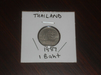 1987 Thailand 1 Baht coin Thai one bahts