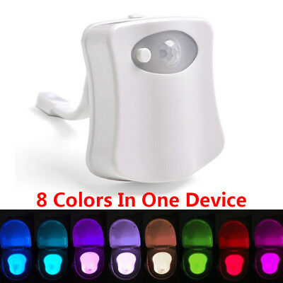 NEW 8 Colors Automatic Toilet LED Motion Sensor Night Lamp Bowl Bathroom
