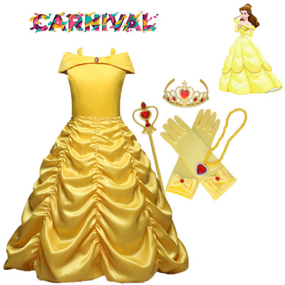 carnival Disney Vestito Carnevale Maschera Belle Girl Dress  Costume Cape caldo