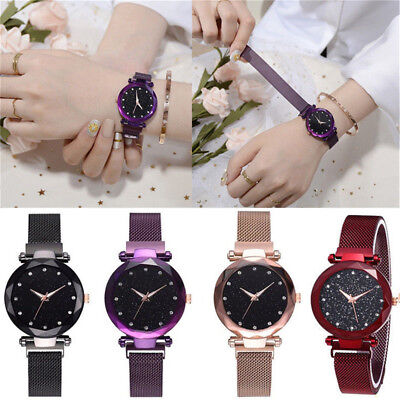 Elegant Women Ladies Crystal Starry Sky Watch Magnetic Strap Watches Gift New e6