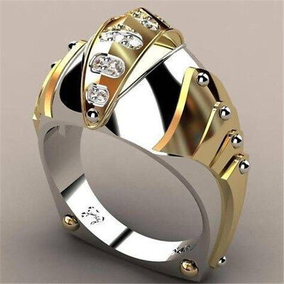 18K Yellow Gold Plated White Topaz Women Man Gift Wedding Jewelry Ring Size 6-10