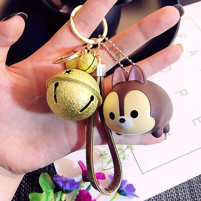 Cute Squirrel Keychain Key Ring Strap Bag Pendant Gold Bell Charm Kid Gift Doll