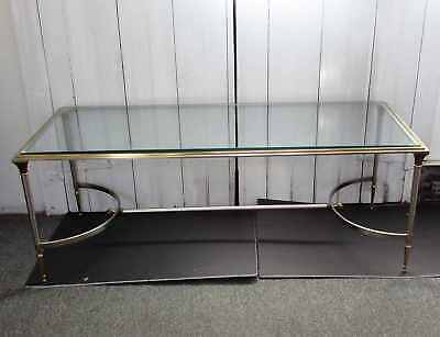 Vintage Mid 20th Century Maison Jansen Heavy Brushed Steel & Brass Coffee Table