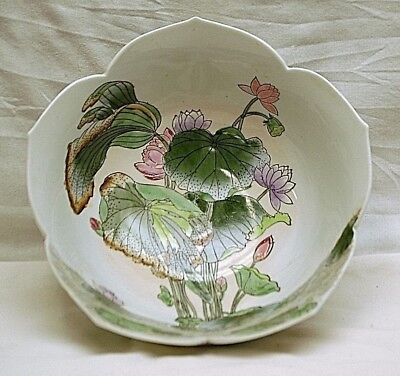 Old Vintage Oriental H.F.P Macau Decorative Bowl Painted Floral Ribbed Scalloped