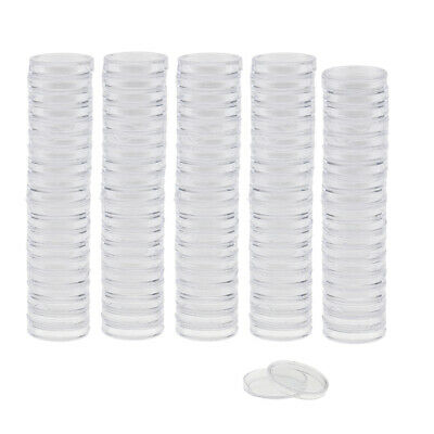100pcs 19mm Coin Containers Round Coin Case Capsules Boxes Holder Collection