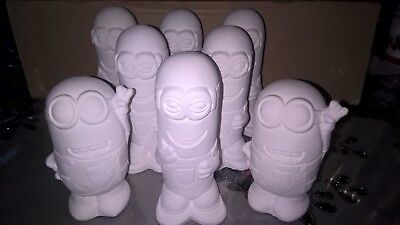 8 x 3D minion ready to paint plaster figurines with paint and brushes