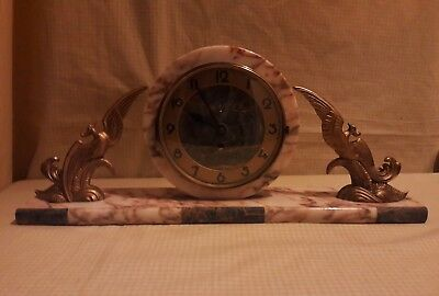Art Deco Marble/onyx Mantle Clock In E. W.o   At1