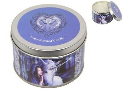 Anne Stokes Unicorns Candle In Tin Solace - Violet Scented - New