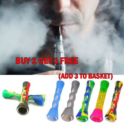 Protable Silicone Tobacco Pipes with Glass Pipes Glass Herb Smoking Random Color