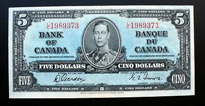 1937 BANK OF CANADA $5 DOLLARS  **Gordon & Towers**  L/C 1989373  BC-23b