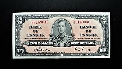 1937 BANK OF CANADA $2 DOLLARS **Gordon & Towers**  W/B 9149046 BC-22b
