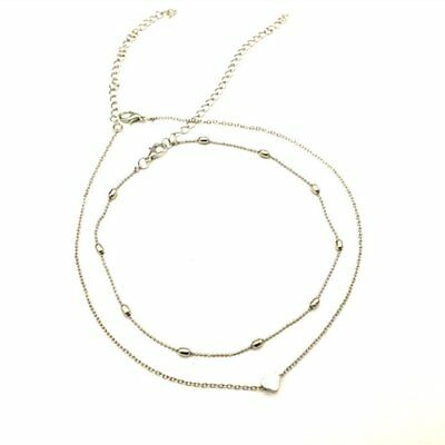 Necklace double layer Love heart chain multilayer choker pendant gold silver