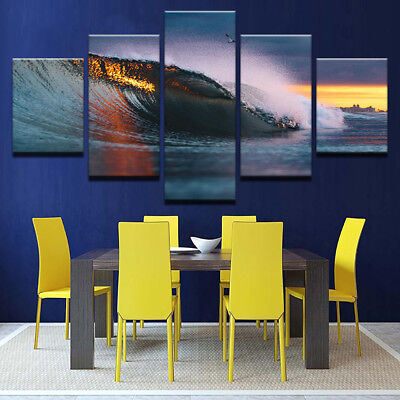 Huge Ocean Waves Sunset Rays Painting 5 Panel Canvas Print Wall Art Home Decor