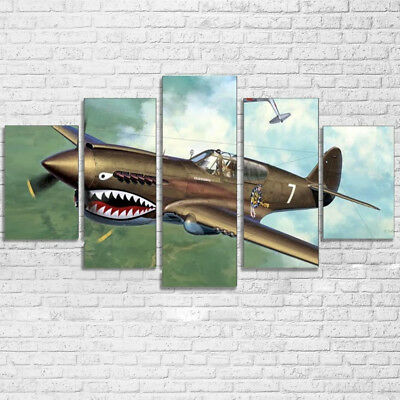Vintage P-40 WWII Warhawk Fighter Plane 5 Panel Canvas Print Wall Art Home Decor