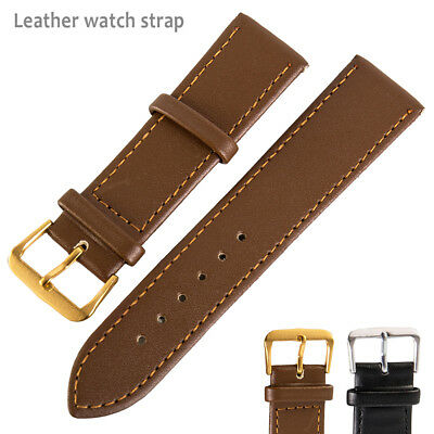 Black Brown High Quality Mens Ladies Genuine Soft Leather Watch Band Strap