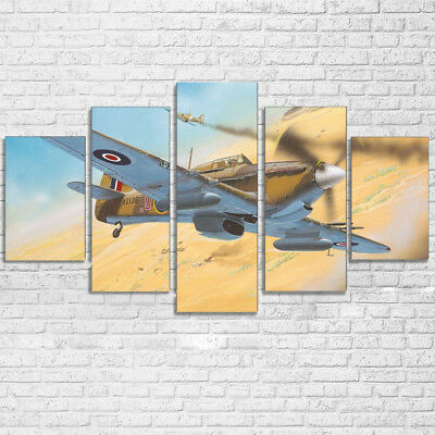 Vintage Aircraft Hawker Hurricane WW2 5 Panel Canvas Print Wall Art Home Decor