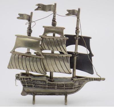 Vintage Solid Silver Italian Made Large Sailing Ship Miniature, Figurine, Stamps