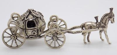 Vintage Solid Silver Italian Made Large Princess Carriage Miniature, Stamped