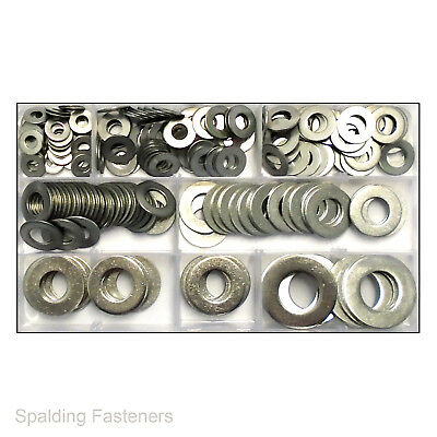 """Assorted A2 Stainless Steel Imperial Flat Washers 1/4"""",5/16"""",3/8"""",7/16"""",1/2"""",5/8"""