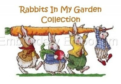Rabbits In My Garden Collection - Machine Embroidery Designs On Cd