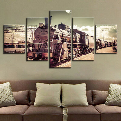 Old Vintage Steam Locomotive Train 5 Panel Canvas Print Wall Art Home Decor