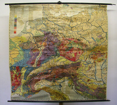 Schulwandkarte Beautiful Old Europakarte Geology 192x188 Vintage Map~1925