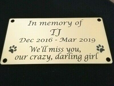 Personalised engraved Pet Memorial Plaque Dog Cat funeral Engraved 120mm x 60mm