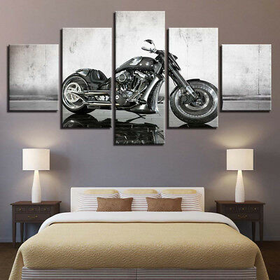 Vintage Harley Davidson Motorcycle Sportster 5 Panel Canvas Print Wall Art Decor