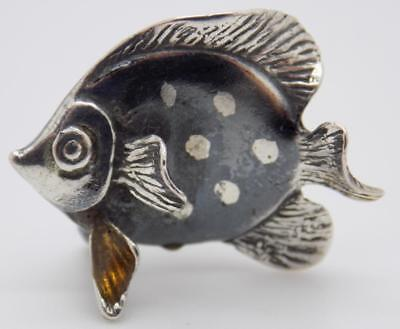 Vintage Sterling Silver 925 Italian Made Tropical Fish Figurine, Stamped