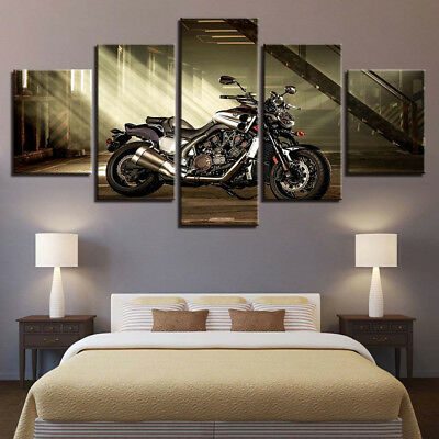 Classic Vintage Style Motorcycle Poster 5 Panel Canvas Print Wall Art Home Decor