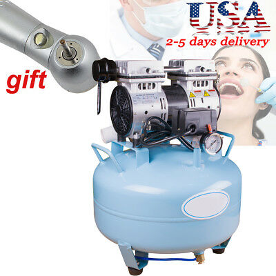 Noiseless Oilless Air Compressor 30L 130L/min for dental therapeutic w Handpiece
