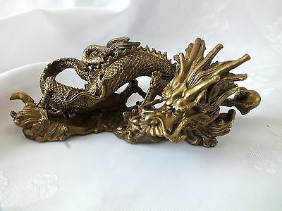 CHINESE XL VINTAGE 20cm BRASS COPPER DRAGON FIGURE ORNAMENT FIGURINE PARTY a2